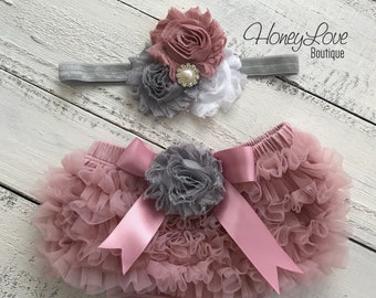 SET Vintage Pink, dusty rose ruffle bottom bloomers diaper cover, pearl rhinestone flower headband bow gray white, infant toddler baby girl