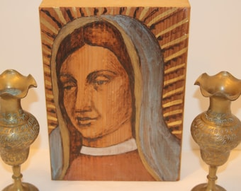 Painting Virgin Mary Etching on Wood Block Saint or Madonna 10x7 Wall Art