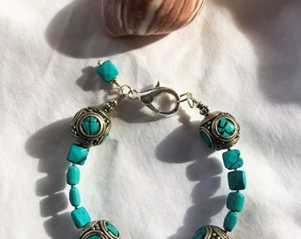 Turquoise and Silver Tibetan Bead Bracelet