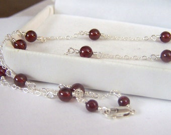 Garnet Handmade Artisan Necklace Genuine Gemstone Round Wire Wrapped Sterling Silver Round Red