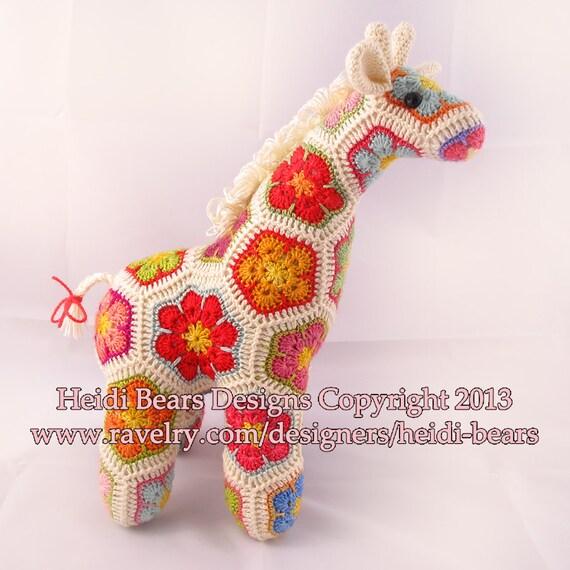 Jedi el jirafa curiosa flor africana ganchillo patrón