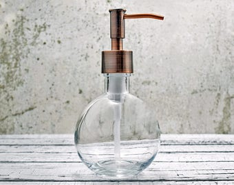 Round Soap Dispenser | Small Bathroom Decor | Bathroom Accessories | Copper Kitchen Decor | Eco Friendly Hand Soap Dispenser