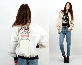 Baseball Reversible Jacket / Embroidered Jacket  / Logo Jacket / Sport Jacket / Hipster Jacket / Cropped Jacket / Size M