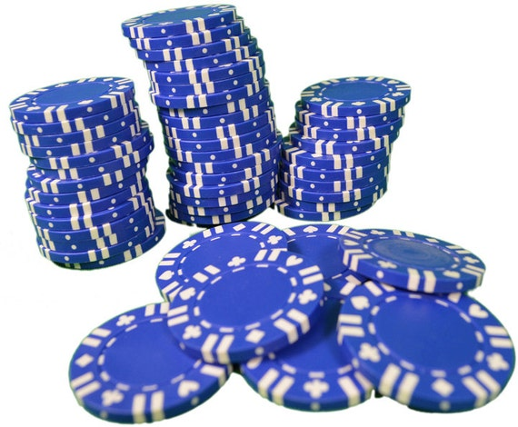 Casino Blue Poker Chips Birthday - Edible Cake and Cupcake Topper For Birthday's and Parties! - D7340