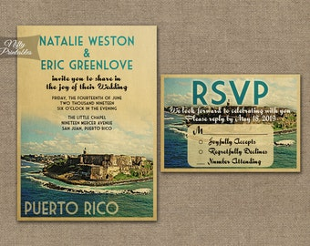 Puerto Rico Wedding Invitation - Printable Vintage Puerto Rican Wedding Invites - Retro Puerto Rico Wedding Set or Solo VTW