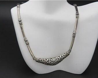 Signed B Fine 925 Sterling Silver Bali Ornate Bar Link Necklace Indonesia
