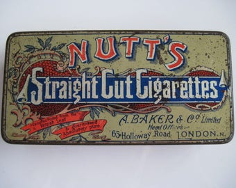 Nutt's Straight Cut Gold Tipped Cigarette tin (50/empty) by A Baker & Co Ltd c.1910