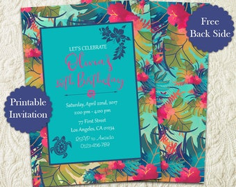 Tropical Party Birthday Invitation, Hawaiian Birthday Party Invitation, Luau Birthday Party Invitation, Aloha Summer Birthday Party Invite