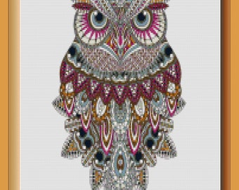 Artisinal Picology presents a Colorful Owl Counted Cross Stitch Pattern Digital Download
