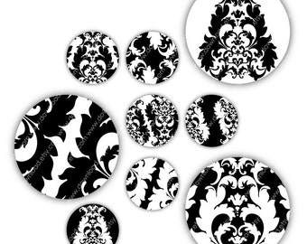 Damask 2 Inches Circles, Digital Collage Sheet, Download and Print Jpeg Clip Art Images