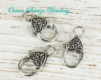 Large Lobster Clasp . 26 x 14 mm . Antiqued Silver . 6 for you