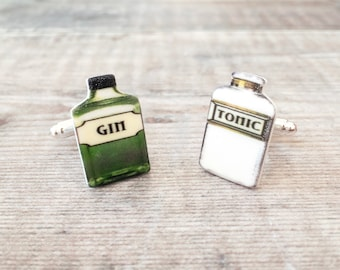 Gin and tonic cuff links - Quirky gift for him - Gin lover gift - Groom gift - Wedding cuff links - Usher gift - Father's Day