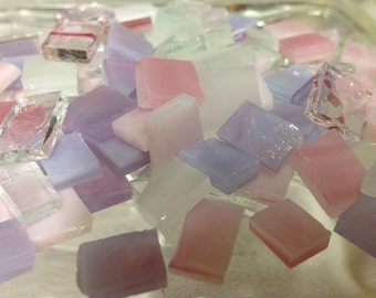 COTTON CANDY  - Pink & Purple Mix Size Stained Glass Mosaic Tile Supply B17