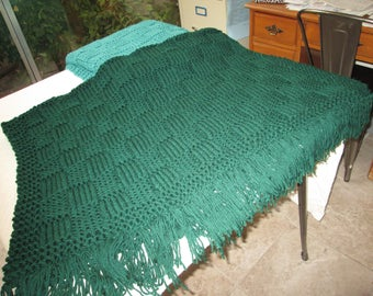 Hand Knitted Hunter Green Throw