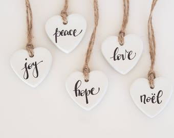 Christmas ornaments - 5 heart decorations - Rustic Christmas decorations - Heart gift tags - Christmas tree ornaments - Clay heart decor