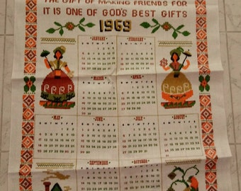 Vintage 1969 Victory Linen calendar tea towel New Unused Pennsylvania Dutch Prayer Orange Green Brown