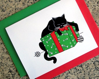 sleeping black cat with gift box christmas greeting cards / notecards / thank you notes (blank or custom inside) with envelopes set of 10