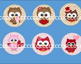 10 glass cabochons 20 mm OWL theme
