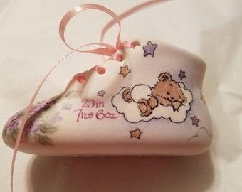 Customized Porcelain Bisque Baby Shoe  Birth Keepsake