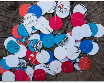 The Cat in the Hat Dr. Seuss Paper Circles Garland - 9 feet - The Cat in the Hat with red, white & blue card stock - Ready to ship