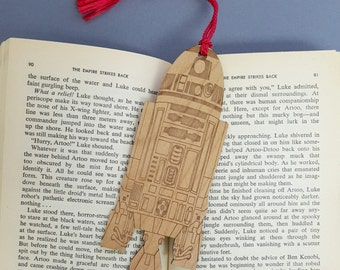 Star Wars R2D2 Bookmark with Tassel - Laser Engraved Alder Wood - R2-D2 Book Mark