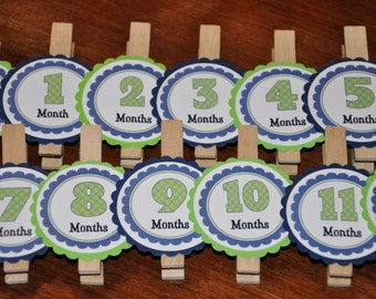 Photo Clips. Photo Banner. Navy. Green. Polka Dots. Diy Picture Banner. Set of 13