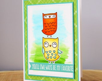 Handmade Watercolour Card - Friendship Owl Card - Cute Owl Card - Anniversary Card - Thinking of You - Two Owls