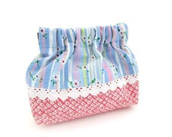 Flex frame purse, coin pouch, blue, stripe, pink, mini bag
