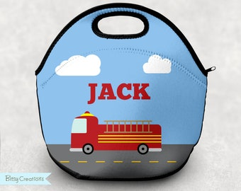 Firetruck Lunch Tote - Personalized Lunch Bag for Kids - Washable Soft Neoprene - Fireman Fire Truck Fire Fighter