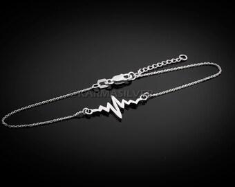 925 Sterling Silver Heartbeat Bracelet