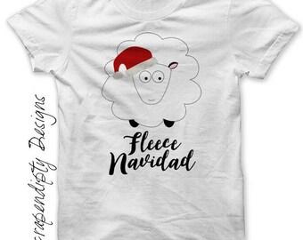 Kids Christmas Shirt - Fleece Navidad Iron on Transfer / Funny Mens Christmas Tshirt / Sheep PDF DIgital / Toddler Christmas Outfit Tee