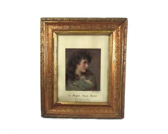 Antique Framed Portrait of Maud Muller by George Elgar Hicks