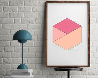 Geometric Printable Art, Modern Hexagon, Abstract Print, Minimal Print, Modern Art, Modern Printable, Coral Printable Art, Neutral Art