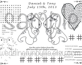 Wedding Activity Page PDF. Kids, Printable at Home. Gay, LGBTQ. Your Names & Date. You Choose Wedding Couple's Outfits.