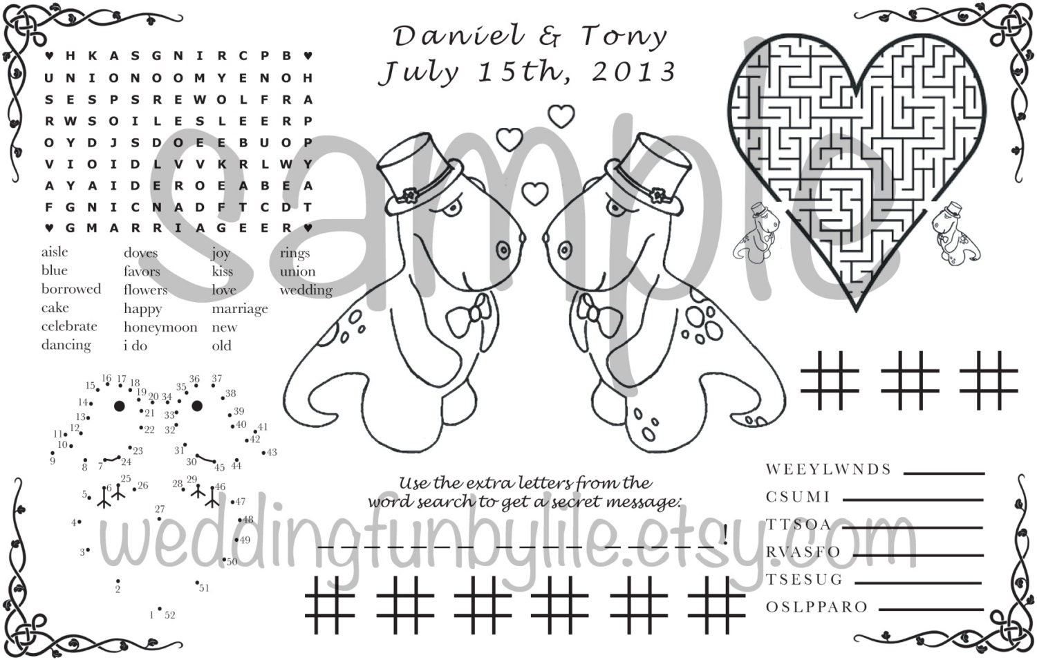 Wedding Activity Page PDF. Kids Printable at Home. Gay