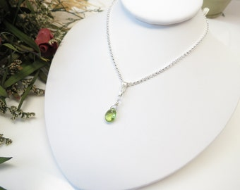 Peridot Pendant Necklace, August Birthstone, Green Gemstone Necklace In Sterling Silver, 16-18.5 Inches Length, Keira's Crystal Creations