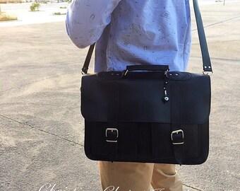 Black Leather Messenger Bag, Leather Briefcase, 15 inch Laptop Bag, Black Briefcase, Men's Briefcase, Black Messenger Bag, Made in Greece.