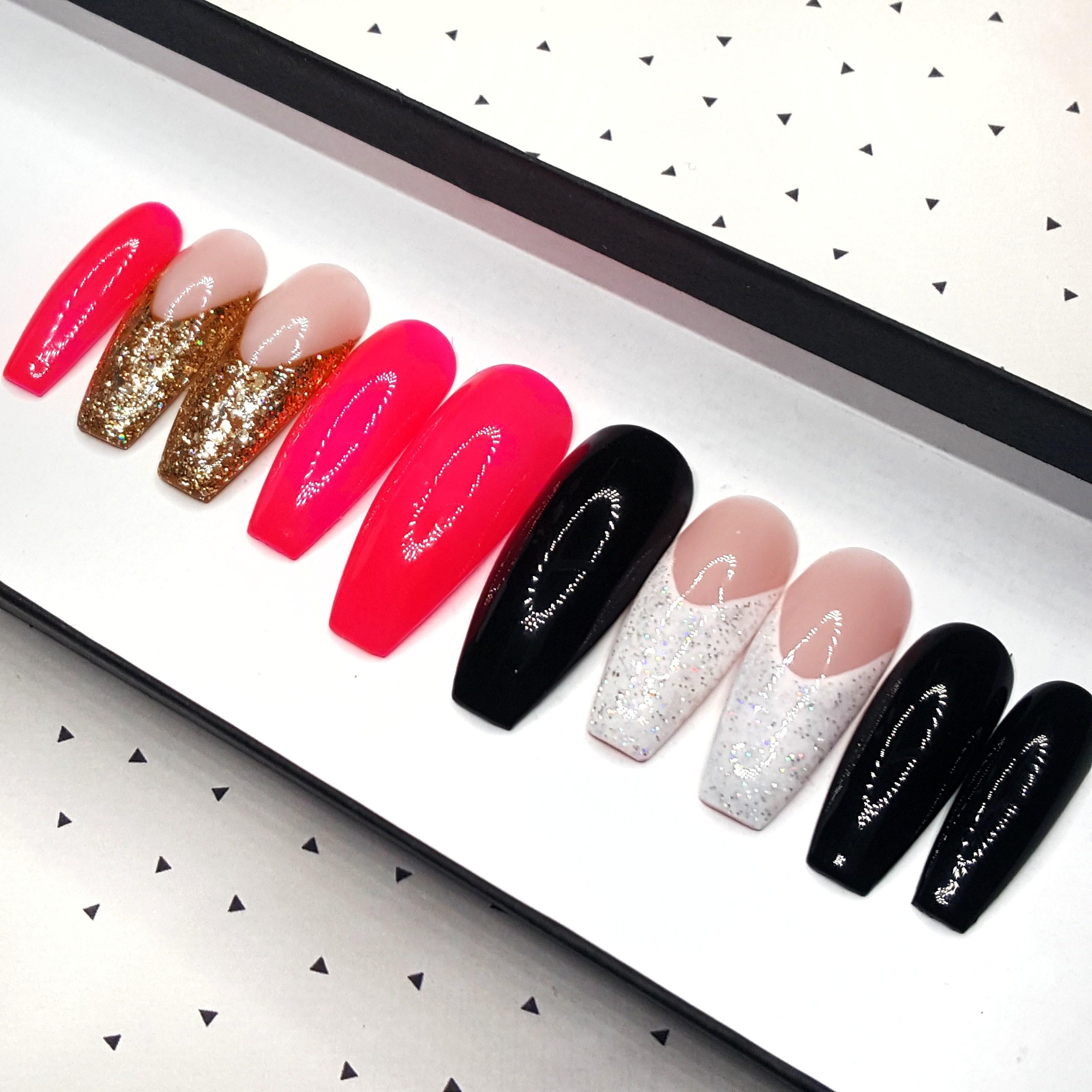 MINGLE Mixed Mani French Tip Press on Nails Neon Pink Nail Polish ...