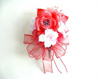 Coral and white corsage for any event, Wedding gift bow, Bridal shower bow, Floral corsage, Gift for a Wedding, Prom corsage