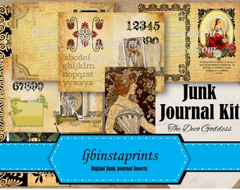 Art Deco Junk Journal Kit, Goddess Journal Kit, DIY Junk Journal Kit, Deco Goddess Junk Journal Kit, Instant Download