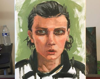 Stranger Things Bitchin Original Oil Painting Of Millie Bobby Brown As Eleven Jane