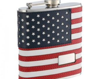 6oz Monogrammed American Flag Flask