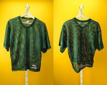 Vintage Mesh T Shirt by BIKE ⋆ Forest Green ⋆ Sz S-M ⋆ Short Sleeve V Neck Sporty Mesh Shirt 90s Vintage Activewear Spring Streetwear