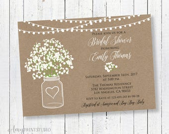 Bridal Shower Invitation, Rustic Bridal Shower Invitations, Baby's Breath Invitation, PERSONALIZED, Digital file, #D01