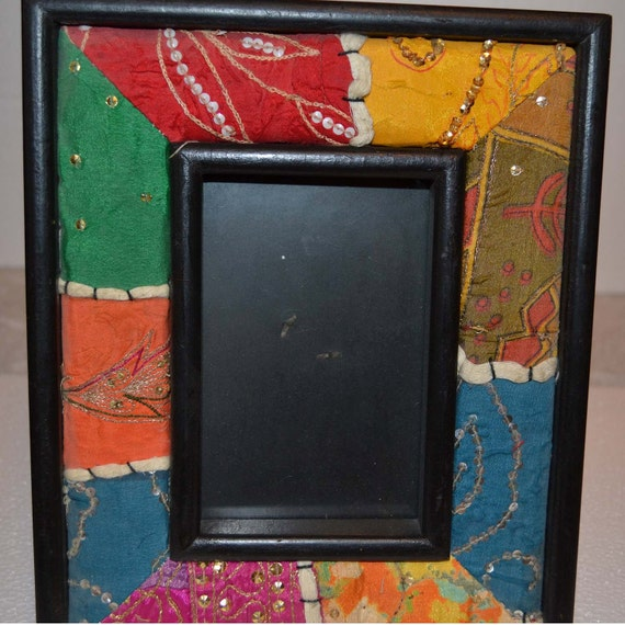 Wooden picture frame from India covered in multicolored cloth/Indian ...