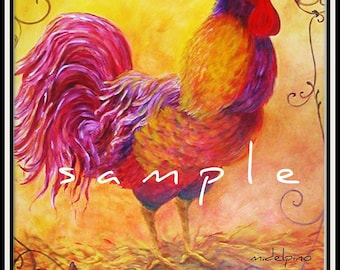 Country French art, Rooster Art, kitchen wall art, French country rooster, beautiful yellow and red rooster, cottage chic, fine art rooster