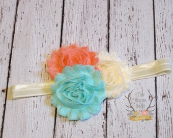 Aqua Coral Cream Ivory Baby Headband- Newborn Infant Baby Toddler Girls Adult Wedding Flower Girl