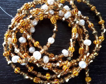PLATA custom made waist beads, glass seed beads, crystals, fresh water pearls, gold, silver or mix, read item details and leave size