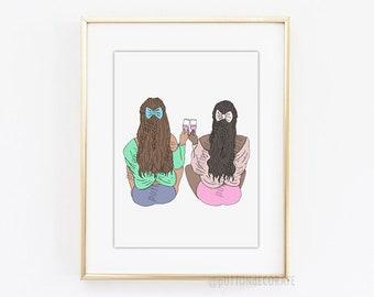 Girl Friendship art print, Best Friend Art Print, feminism art print, digital art best friend printable art, gift for best friend art print