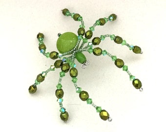 Beaded Spider - Olive Green